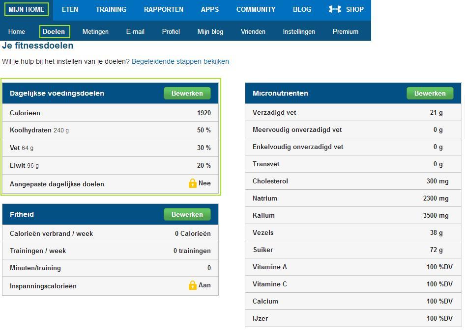MyFitnessPal instellingen - voedingswaarden - doelen